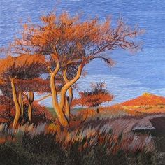 Gnarled Autumn Trees #Beautiful #Handmade #Silk #Embroidery #Art 37176 http://www.queensilkart.com/100-handmade-embroidery-framed-landscape-sunset-desert-trees-37176 In Feng Shui, trees are symbolic of ancient wisdom, the ability to tap into inner resources to navigate life & become wealthy & successful. Images of trees in the home are thought to attract money & wealth.