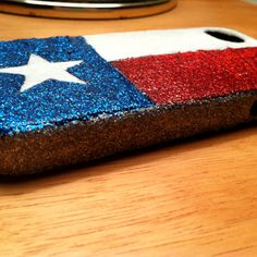 DIY Texas flag glitter iPhone case I made for a friend! Just mix modge podge and glitter, and voila! Super easy, super cute, and super Texan :)