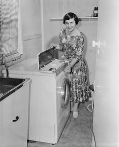 Woman with Washing Machine, Ashburton, Melbourne, Victoria, 10 Sep 1959
