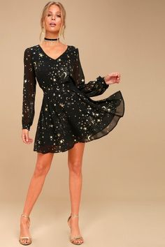 Midnight Skyline Black Star Print Long Sleeve Skater Dress 2