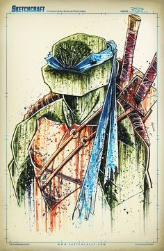 TMNT Saucy Donny Watercolor & Ink - Photoshop for color adjustments. 11x17 _______________________________________________________________________ Sketchcraft - The podcast for art, design, and...