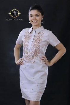 *Please refer to size chart found at end of picture gallery to avoid unnecessary returns leading to loss of time and money. Choose the size 2 inches bigger than your actual measurement for a better fit. Gowns are customizable but needs extra time to make. Thank you for understanding. Filipiniana Barong Tagalog For Women, Modern Filipiniana Gown, Filipiniana Wedding, African Fashion Dresses, Fashion Outfits, Fashion Ideas, Women's Fashion, Filipino Fashion, Civil Wedding Dresses