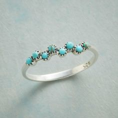MERMAID KISSES RING -- Tiny turquoise bubbles cavort on a sterling silver ring sweet as a kiss. Whole sizes 5 to 10.