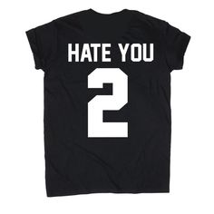 Hate You 2 T Shirt Hentai Kawaii Pastel ($14) ❤ liked on Polyvore featuring tops, t-shirts, black, women's clothing, pastel t shirts and pastel tops