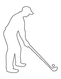 Use the printable outline for crafts, creating stencils, scrapbo. Silhouette Sport, Golf Club Crafts, Golf Quilt, String Art Templates, Sports Templates, Silhouettes, Pvc Pipe Crafts, Golfer, Summer Quilts