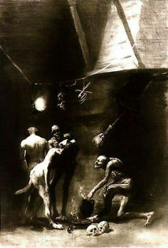 """blitzkriegwitchcraft: """" The Witches' Kitchen - Francisco Goya """" Francisco Goya, Occult Art, Spanish Artists, Kitchen Witch, Horror Art, Famous Artists, Old Master, Dark Art, Painting & Drawing"""