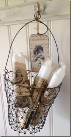 Vintage candles with wire basket