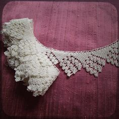 Antique French Lace Hand Crocheted Trim Lace 2 2/3 yards long - Vintage Supplies Fine Trim Fashion from France