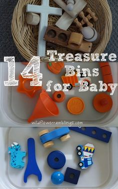 Treasure bins are a small collection of similar items to put in front of a young child to allow them time of explorations and wonder!