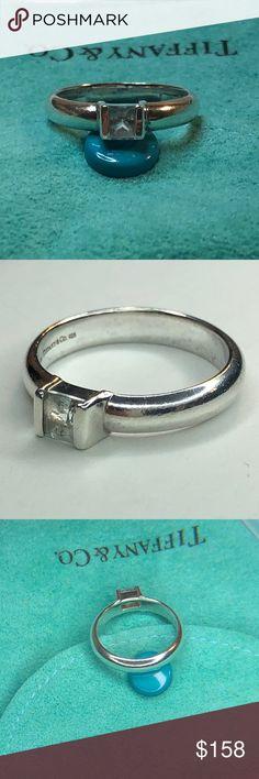 970e6aa2e Tiffany Silver Aquamarine Square Stacking Ring 6.5 Tiffany & Co. Sterling  Silver Aquamarine Square Stacking