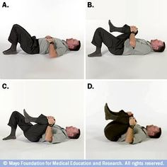 Photos of man lying on back, bringing knees to chest