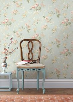 Something for your WALL : Brewster Home Fashions Willow Cottage Lily Trail Wallpaper in Light Blue Home Wallpaper, Cottage Wallpaper, Peach Wallpaper, Embossed Wallpaper, Wallpaper Decor, Wallpaper Roll, Toddler Rooms, Interior Decorating, Interior Design
