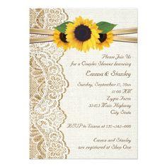 Lace & sunflowers on burlap wedding couples shower