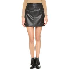 Paige Denim Rayleigh Leather Skirt ($340) ❤ liked on Polyvore featuring skirts, mini skirts, black, short leather skirt, mini skirt, short skirts, black mini skirt and leather mini skirt