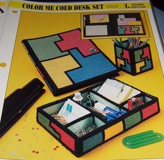 Color Me Coed Desk Set by kathybarwick on Etsy, Plastic Canvas Stitches, Plastic Canvas Tissue Boxes, Plastic Canvas Crafts, Plastic Canvas Patterns, Desk Set, Tissue Box Covers, Square Quilt, Sewing Projects, Color