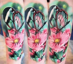 Butterfly on Blossom tattoo by Dmitriy Gorbunov