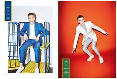 Left: Victor Nylander charms in a blue suit from Hugo Boss. Right:  Victor has a striped moment in SAND, NN.07 and Bruuns Bazaar.