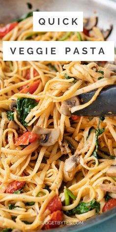 """Use up your leftover odds and ends in the kitchen because """"anything goes"""" with this Quick Veggie Pasta! Make it vegetarian or vegan! BudgetBytes.com Tomato Linguine, Pasta Recipes, Dinner Recipes, Vegetarian Breakfast Recipes, Veggie Pasta, Meatless Monday, Vegan Dishes, Kid Friendly Meals, Meals For One"""