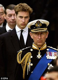 2002 Mournful Charles leads William at the Queen Mother's funeral