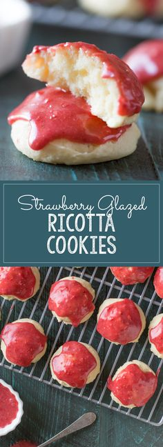Strawberry Glazed Ricotta Cookies - Sweet, soft, buttery ricotta cookies with a vibrant strawberry glaze made with dried strawberries.