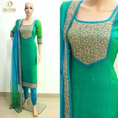 A round neck pattern with a short V is pretty popular these days and this can be tried on all kinds of churidars. Raglan neck design will look cool on your cotton. This type of churidar flaunts your feminine body. Asymmetric is the way to go in Salwar Neck Designs, Churidar Designs, Kurta Neck Design, Kurta Designs Women, Dress Neck Designs, Blouse Designs, Pakistani Dresses, Indian Dresses, Indian Outfits