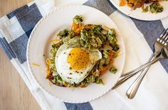 Broccoli Cheese Sweet Potatoes with Fried Egg