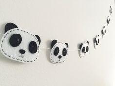 Panda felt Garland Black and White Monochrome modern Nursery Baby shower gift gender reveal Panda Party Kids room decor Scandi banner lover