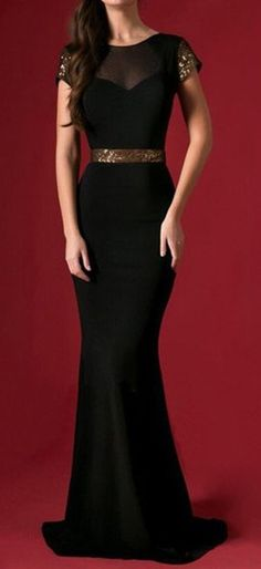 classy and elegant.  Black and gold long dress