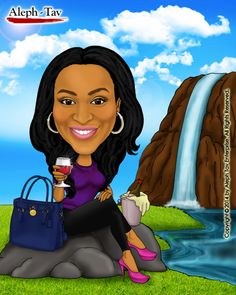 Special thanks to beautiful Markeeta for her support. This drawing shows her sitting by the waterfall, sipping a glass of wine.  To order your digital caricature gifts, visit : https://www.etsy.com/shop/AlephTavgiftshop #AlephTavart #anniversary_gifts #art #birthday_gifts #caricature #celebration #christmas #gift_ideas #gifts #unique_gifts #wedding_gifts #corporate_gifts #family_portrait #portraits #presents