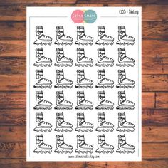 One sheet of Skating stickers!  These planner stickers are designed to fit various planners including but not limited to Erin Condren, Happy Planner, Day Designer, Inkwell, Plum Paper and Filofax!  - Each sheet is approximately 5.7 x 4.3 inches (or 14.5 x 11 cm). - All stickers are printed on non-removable matte white adhesive paper. - Stickers are kiss-cut for easy removal. - All artwork is hand drawn and created by Calime Create. Please let me know if you need customization!  Thank you for…