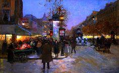 Les Grands Boulevards en fin de journée par Edouard Léon Cortès ©