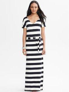 Striped Tie-Front Patio Dress | Banana Republic
