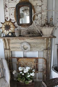 Primitive wood mantel, except take out the rusty metal gate and whatever that rusty thing on the left of the mantel is. Description from pinterest.com. I searched for this on bing.com/images