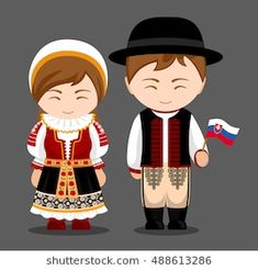 Slovaks in national dress with a flag. Man and woman in traditional costume. Travel to Slovakia. Vector flat illustration: compre este vector en Shutterstock y encuentre otras imágenes. Indian Bridal Fashion, Thinking Day, Bratislava, Flat Illustration, Folk Costume, People Around The World, Paper Dolls, Flag, Cartoon