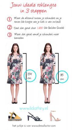 Je kunt eenvoudig je ideale roklengte berekenen. Meet de lengte van je schouder tot je teen en deel dit door de Gulden snede. In dit blog lees je er meer over #roklengte #kledingadvies
