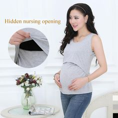 bae8086a43f9f Cotton Clothes For Pregnant Women Nursing Tank Top Maternity Clothes Breast  feeding Sleeveless Vest Of Women Pregnancy Clothes