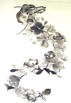 Flower Dragon 竜花 by Sumi-e Kazu Shimura, via Flickr