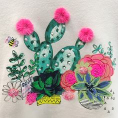 Floral Embroidery, Embroidery Stitches, Embroidery Designs, Cactus Backgrounds, Girl Trends, Sketchbook Inspiration, Kids Prints, Embroidery Techniques, Textile Prints
