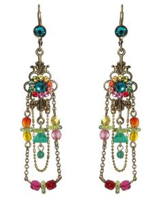 Amazon.com: Delicate Michal Negrin Chandelier Earrings Adorned with Suspended Chains and Beaded Ornament and Multicolor Swarovski Crystals Flower; Victorian Inspiration: Michal Negrin: Jewelry