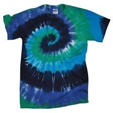 This blue spiral tie dye t is a hippie classic, sporting a swirl of cool blues and greens on 100% cotton! $18.00