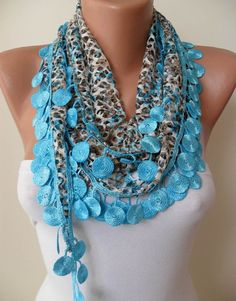 Perforated Fabric  Blue Spring Shawl / Scarf  with by SwedishShop, $15.90