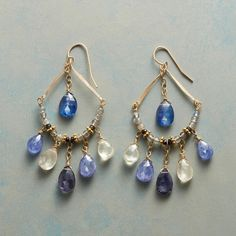 "BLUE MIST EARRINGS -- Thoi Vo suspends a bright kyanite above a labradorite arc, while multi blue and white gemstones fan out below on these 'Blue Mist' earrings. French wires. Sundance exclusive handmade in USA; 14kt gold filled. 2-1/2""L."