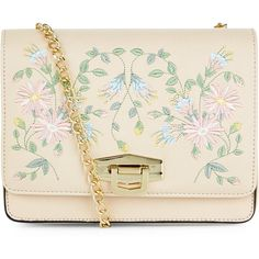 New Look Cream Embroidered Box Shoulder Bag (105 RON) ❤ liked on Polyvore featuring bags, handbags, shoulder bags, oatmeal, embroidery purse, pink handbags, pink shoulder handbags, shoulder bag handbag and embroidery handbags