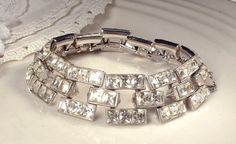 Art Deco Old HoLLyWooD Wide Link Rhinestone by AmoreTreasure