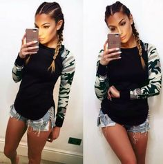 2017 Ladies Women's Camouflage Army Long Sleeve Tops T-Shirts Autumn Casual Women TShirt s-5xl