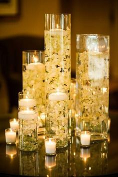 Romantic DIY Floating Candles Crafts Ideas - Page 9 of 54 - Kornelia Beauty Floating Candles Wedding, Wedding Reception Centerpieces, Wedding Decorations, Reception Ideas, Reception Party, Wedding Tables, Wedding Events, Floating Candle Centerpieces, Flower Centerpieces