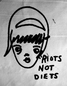 Riots Not Diets Feminist Punk DIY Patch Screen Printed. Haha! @Hannah Mestel Mestel Seeds and Stitches