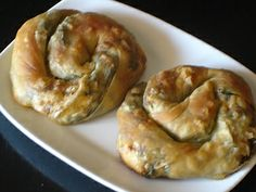 Spinach Pie, or Spanakopita, comes in many forms in Greece. This recipe is for individual round, 'coiled' pies - see the photo. It also tells you how to make the Filo pastry yourself, without having to buy it frozen from the shop.