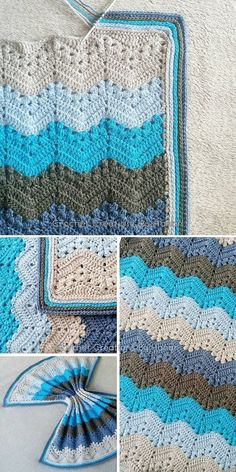 blue and beige Kid Blanket Crochet Ripple Blanket, Crochet Baby Blanket Free Pattern, Afghan Crochet Patterns, Crochet Stitches, Zig Zag Crochet Pattern, Punto Zig Zag Crochet, Crochet Afgans, Kids Blankets, Crochet Accessories