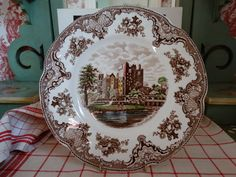 Johnson Brothers Old Britain Castles Dinner Plate in Brown Multi Transferware. Made in England. by HomecomingDiningRoom on Etsy